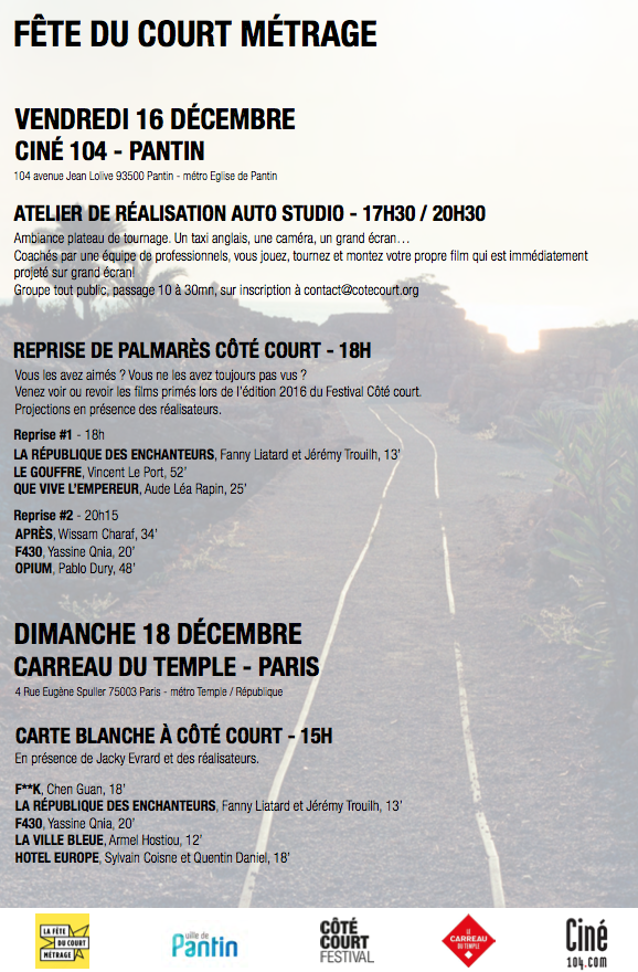 Programme de la Fête du Court Métrage 2016 au Ciné 104 à Paris
