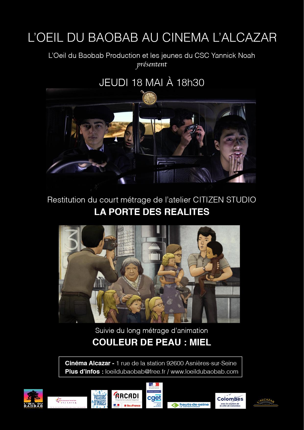 Jeudi 18 mai à 18h30 - Affiche de la séance de restitution de l'atelier Citizen Studio au cinéma L'Alcazar (Asnières-sur-Seine)